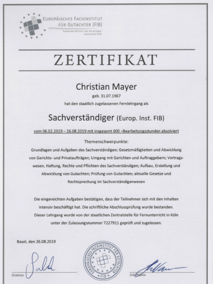 Zertifikat Sachverständiger